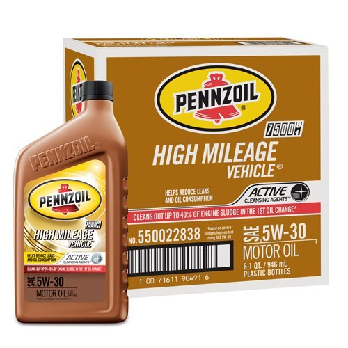 Pennzoil 550022838-PK6 5W-30 High Mileage Vehicle Motor Oil - 1 Quart (Pack of 6)