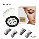 Vassoul Magnetic False Eyelashes - 0.2mm Ultra Thin, 3D Fiber Reusable Best Fake Lashes, Natural Handmade Extension Fake Eye Lashes, No Glue (4pcs)