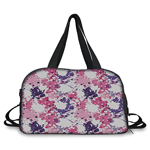 Travel Handbag,Art,Pattern with Paint Blobs Splashes Stained Dirty Look Watercolor Abstract Design,Pink Purple White ,Personalized