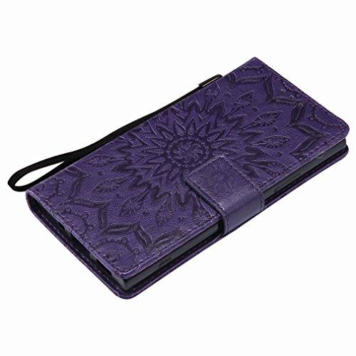 Laybomo Sony Xperia XA2 Ledertasche Schuzhülle Weiches TPU Silikon Cover Magnetisch Stehen Brieftasche Schale Handyhülle für Sony Xperia XA2 mit Kartensteckplatz, Blumenprägung (Grün) Lila