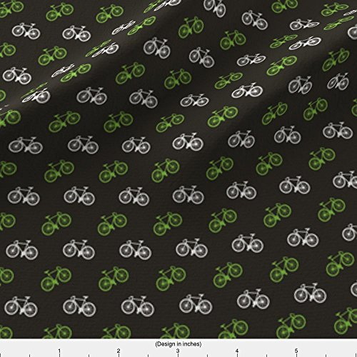 - Spoonflower Bicycle Fabric Bicycle Print - Lime - Small by Tarynosaurus Printed on Modern Jersey Fabric by the Yard