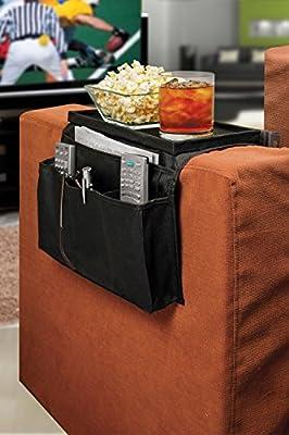 TV Remote Control Organizer Holder, Drapes Over Sofa Arm Best Quality Armrest Organizer-5 Pocket Organizer w/ Arm Rest Tray, Use for Remote Controls, Game Controller, Pens, Magazines,