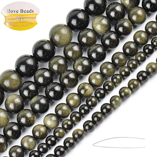 Obsidian Gold (ILVBD Natural Round Gold Obsidian Gemstone Smooth Loose Beads Bulk for Jewelry Making 15