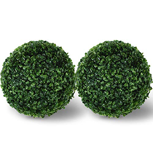"Artificial Boxwood Ball Topiary,Artificial Boxwood Ball Round Topiary for Front Patio,Planter,Deck,Garden,Backyard and Home Decor,2 Pack(12""+12"") ()"