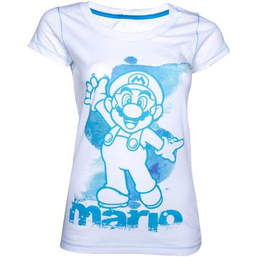 Nintendo Blue Mario Camiseta Mujer Blanco Blanco