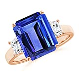 December Birthstone - Three Stone Emerald-Cut Tanzanite and Diamond Ring for Women