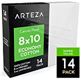 Arteza Painting Canvas Panels, 8x10, Set of 14, Primed White, 100% Cotton with Recycled Board Core, For Acrylic, Oil, Other Wet or Dry Art Media, For Artists, Hobby Painters, Kids