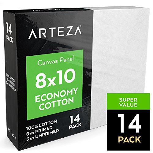 Arteza Painting Canvas Panels, 8x10, Set of 14, Primed White, 100% Cotton with Recycled Board Core, for Acrylic, Oil, Other Wet Or Dry Art Media, for Artists, Hobby Painters, (Media Cotton Canvas)