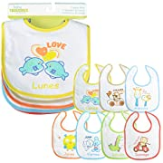 PEKITAS 7 Pack Baby Waterproof Bibs Soft Adjustable Closure - Cotton Front-side Unisex Size 11 inches X 8.3 inches