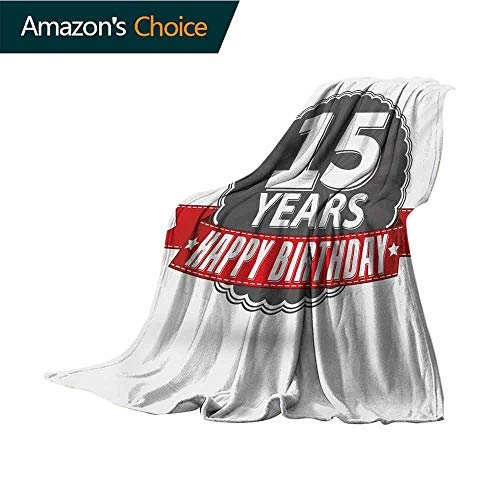 vanfan-home 15Th Birthday Weighted Blanket,Fifteen Years Emblem and Celebration Label in Vintage Style Design Indoor/Outdoor Comfortable for All Seasons,W80 X L60 Inch Red Grey and White