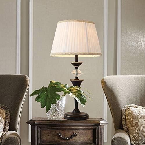 1. Table Lamp Black Center Column Dimmable Living Room Study Hotel Wrought Iron Paint Burlap Textile Simple Decoration 2.