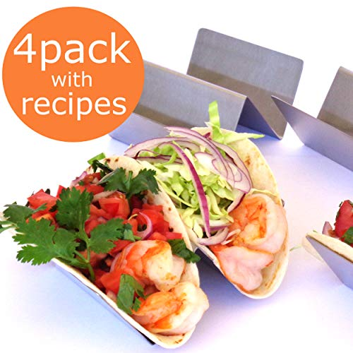 (TACO HOLDER PREMIUM - SET OF FOUR - Stainless Steel Taco Stand Rack, Taco Truck, Holds 2 Large Tortilla, Street or Shell Tacos by OVATION HOME)