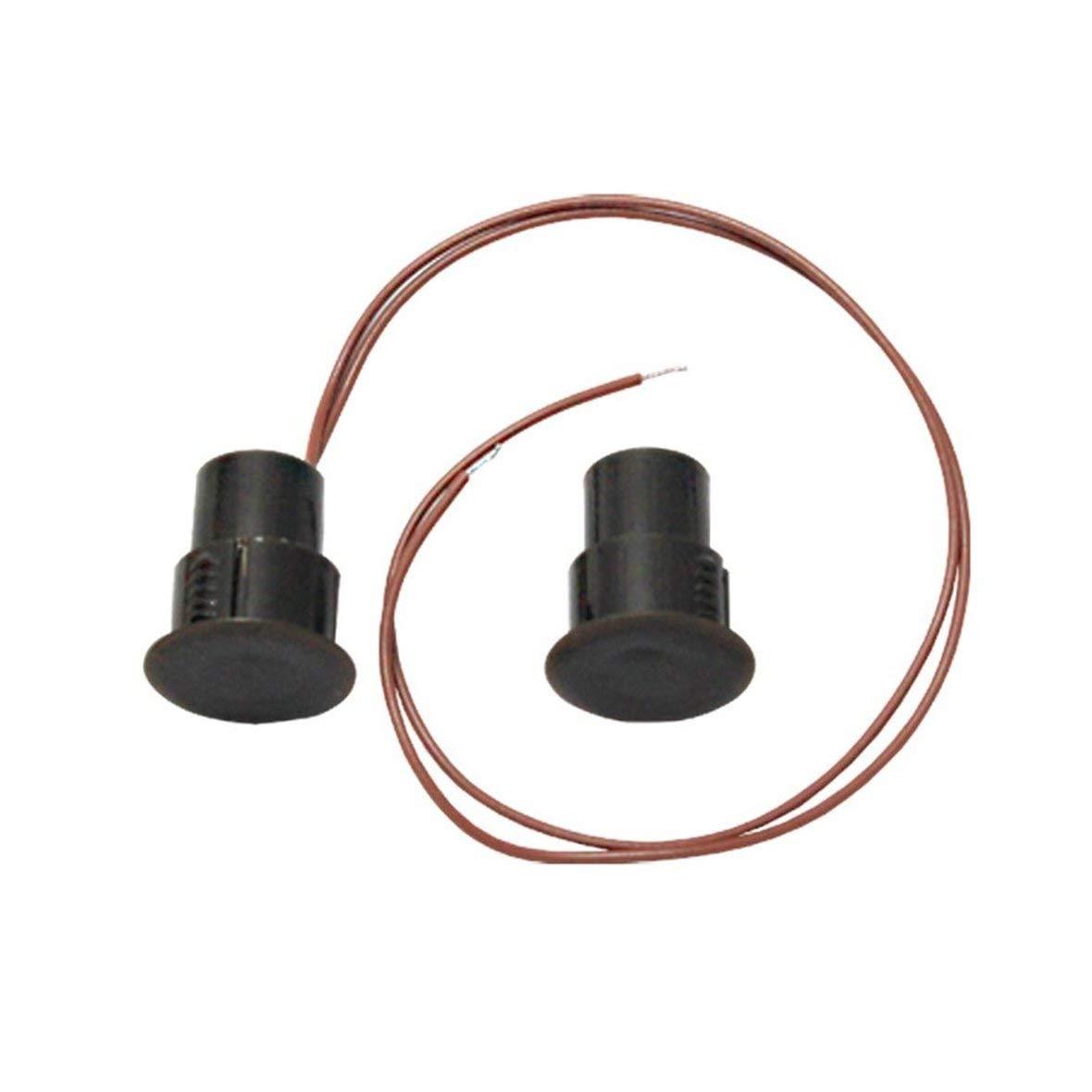 Heaviesk Interruptor magné tico con sensor de ventana de puerta con cable NO NC 200V 10W Negro Premium Incombustible ABS Sistema de alarma de oficina en el hogar 350A