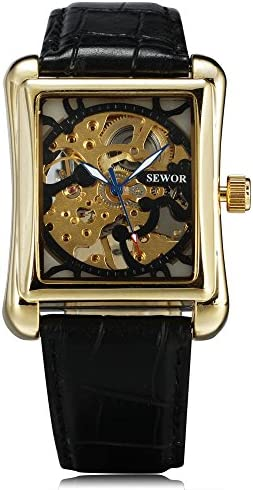 Sewor Skeleton Hollow Fashion Mechanical Hand Wind Watch Men Luxury Square Business Leather Strap Wrist Watch