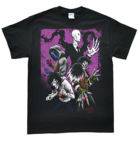 Stooble Men's Creepypasta Black T-Shirt, Size