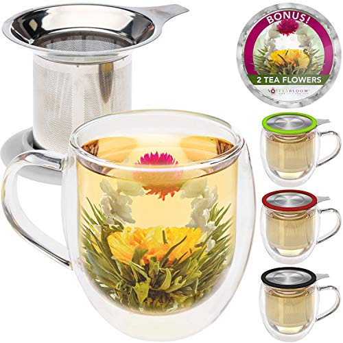 Teabloom Double Wall Glass Mug with Infuser & Lid +2 Gourmet Tea Flowers - 15 oz Tea Mug - Lid Doubles as Coaster - Adorable Gift Set for Tea Lovers - Available in 4 Colors