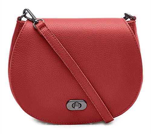 Di Genuine Leather Crossbody Shoulder Bright with Lock Jinne Bag Postman's Montte Women's Italian 100 Red dwZxdfaX