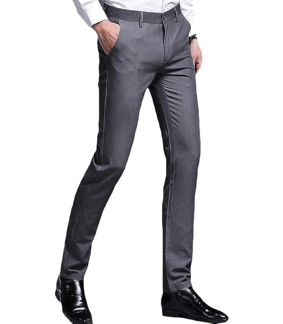 Winwinus Mens Business Slim Fit Middle Waist Formal Straight Dress Pant