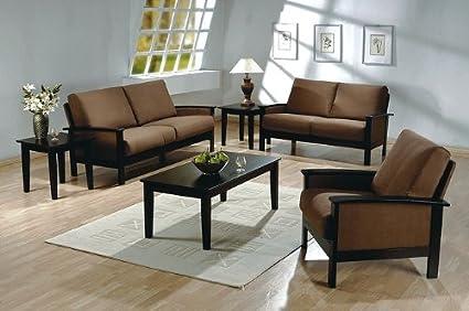 Amazon.com: 3pc Madrid Dark Beige Microfiber Couch Sofa ...