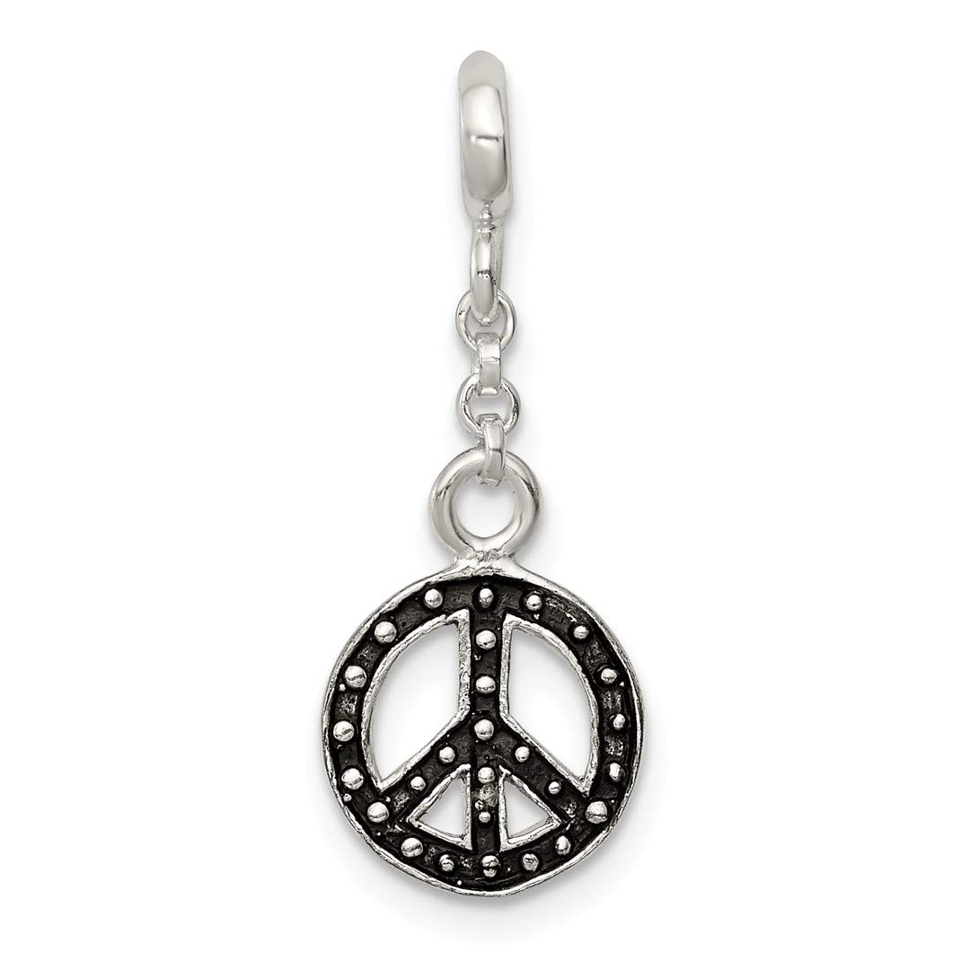ICE CARATS 925 Sterling Silver Enameled Peace Symbol 1/2in Dangle Enhancer Necklace Pendant Charm Fine Jewelry Ideal Gifts For Women Gift Set From Heart