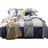 AMWAN Modern Plaid Duvet Cover Set Twin Reversible Luxury Nordic Bedding Set 3 Piece Cotton Duvet Comforter Cover Set Hotel Quality Checkered Bedding Collection 1 Duvet Cover with 2 Pillowcases