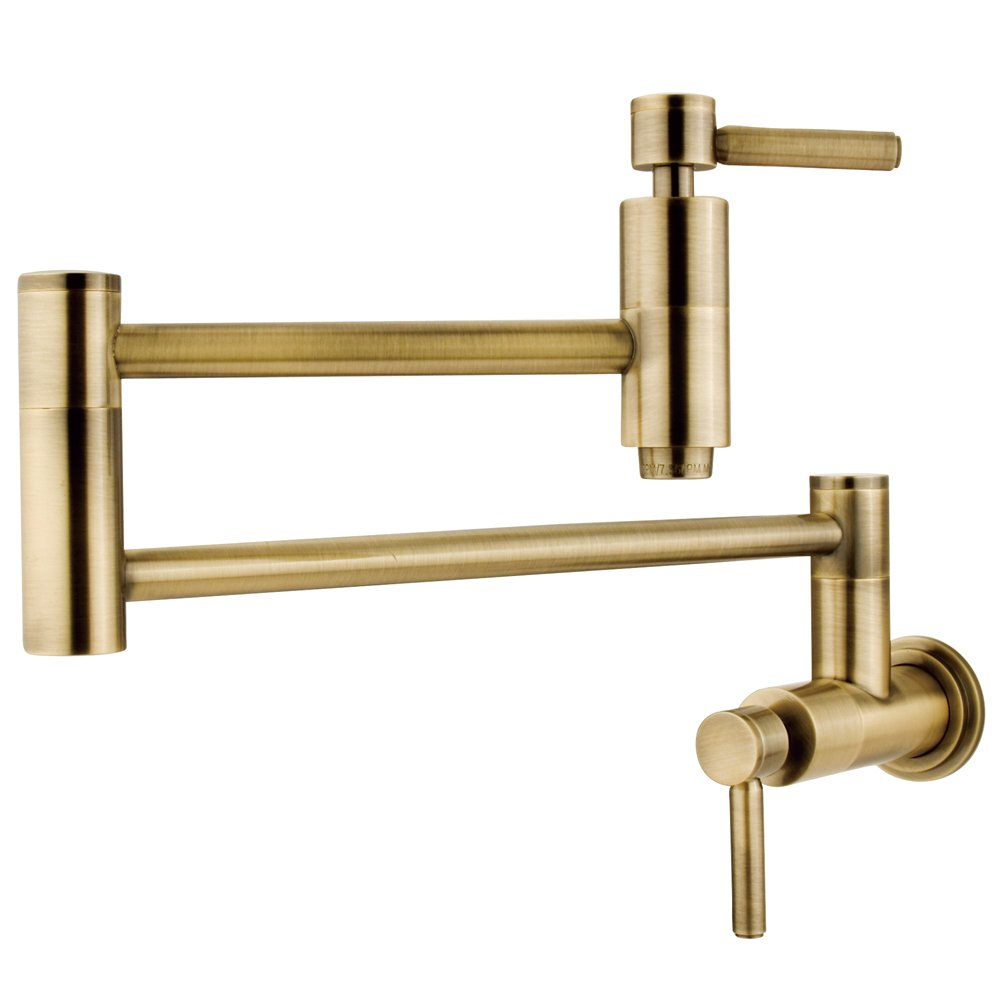 "Elements of Design ES8103DL South Beach Wall Mount Pot Filler, 13"", Vintage Brass"