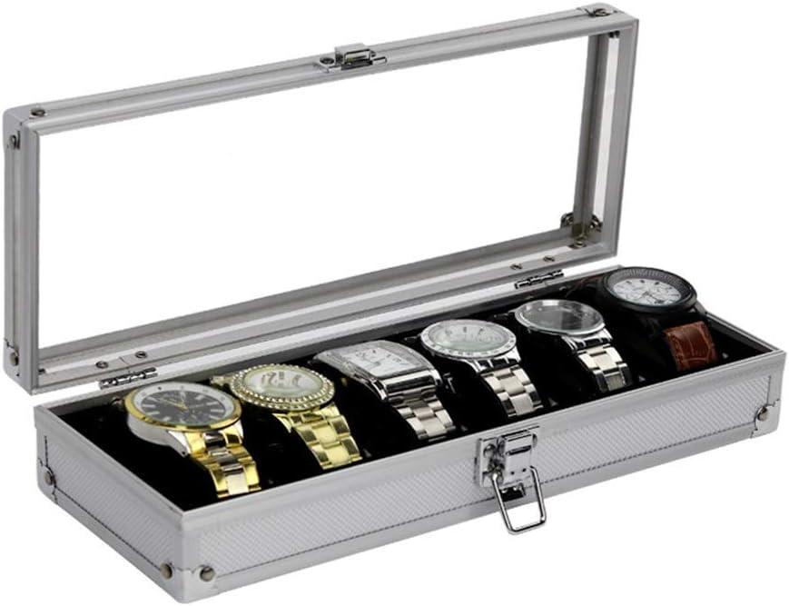 Cajas de reloj de aluminio Caja de reloj 6 exhibición del reloj de almacenamiento caja de acrílico transparente de la ventana de visualización de pantalla caja multifuncional (Color: Color de la foto,: