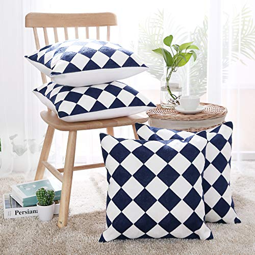 Deconovo Throw Pillow Covers Embroidered Square Cotton Canvas Decorative Checkered Cushion Cases Handmade with Invisible Zipper for Bed 18x18 Inch Navy Blue and White Set of 4