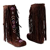 Inornever Knee High Boots Women Moccasins Embroidered Fringed Booties Winter Flats Suede Long Snow Boots Brown 11.5 B (M) US