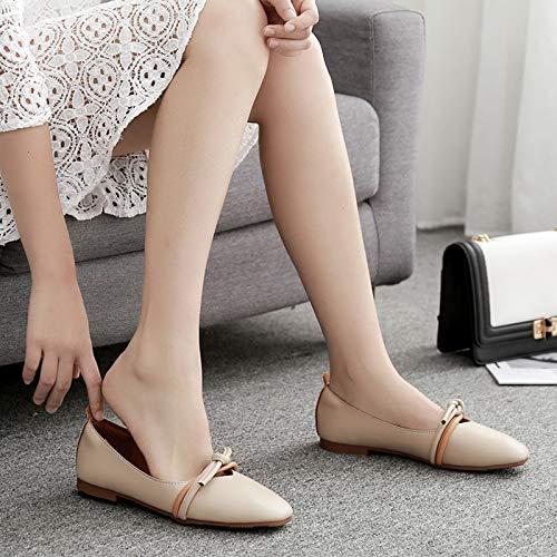 la Moda Zapatos Primavera de señoras Planos Trabajo Oficina Zapatos otoño los del la de Las la Suave cómodos Los Calzan Antideslizantes Planos de Zapatos FLYRCX Posterior Parte y B de del de 7WqPZww1