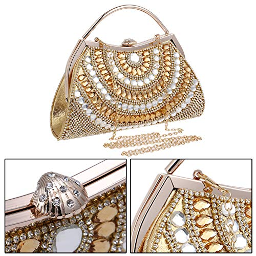 Pearls Clutch Chain Purse Gold Dress Handbag For Wedding Evening Womens Bags BfSP84qB6