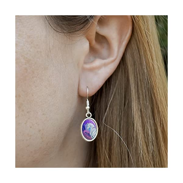 GRAPHICS & MORE Majestic Unicorn Pink Purple Blue Novelty Dangling Drop Oval Charm Earrings 5