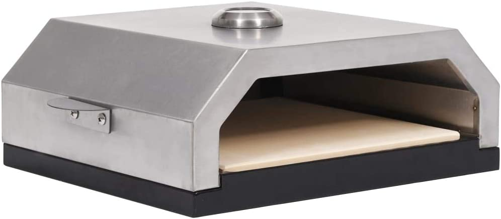 vidaXL Pizza Oven with Ceramic Stone for Gas Charcoal BBQ Pizza Maker Heat Distributed Evenly Grill or BBQ Multi Purpose Rack Handle