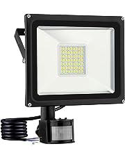 viugreum Foco con detector de movimiento, led foco iluminación exterior, IP65impermeable Exterior para Jardín, garaje o deportes Espacio