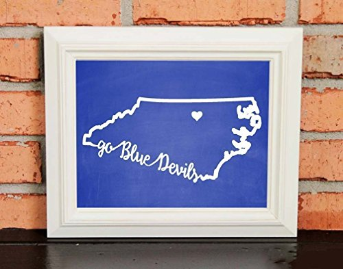 - GO BLUE DEVILS! College Pride Wall Art - Duke Artwork - Duke Blue Devils - Duke University - Blue and White - Man Cave Artwork - College Decor - UNFRAMED Poster Print - Chalkboard Finish