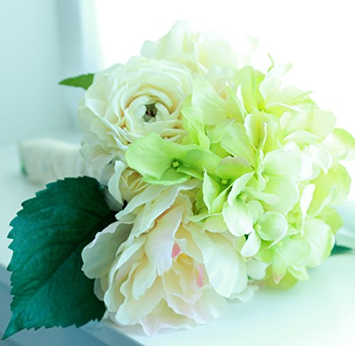 Wedding Bouquet - Elegant White Hydrangea Ranunculus Peony, Bridal - Silk Flowers