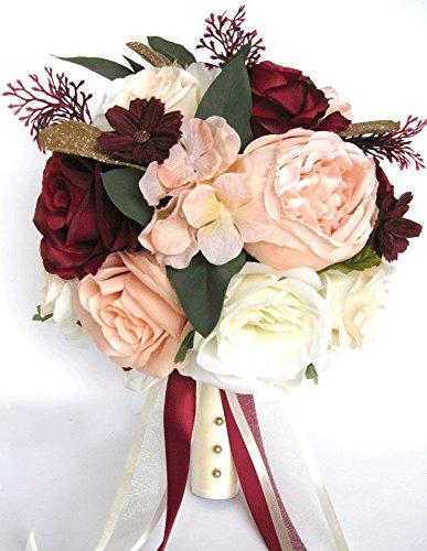 Wedding Bouquet 17 piece package Bridal Bouquets Silk flower Bouquet Peach BLUSH BURGUNDY WINE Cream Gold set Centerpiece - Peach Burgundy And