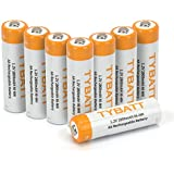 TYBATT 8-Pack Rechargeable AA Batteries 2800mAh Ni-MH Rechargeable Batteries High Performance 1200 Cycle, Battery Case Included