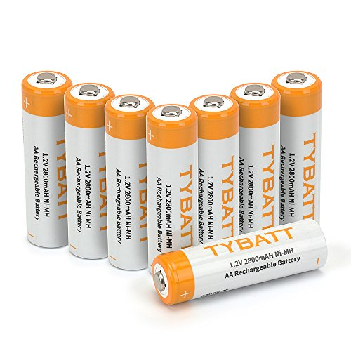 TYBATT 8-Pack Rechargeable AA Batteries 2800mAh Ni-MH Rechargeable Batteries