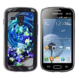 TopCaseStore / la caja del caucho duro de la cubierta de protección de la piel - Blue Spring Blooming Nature Purple - Samsung Galaxy S Duos S7562