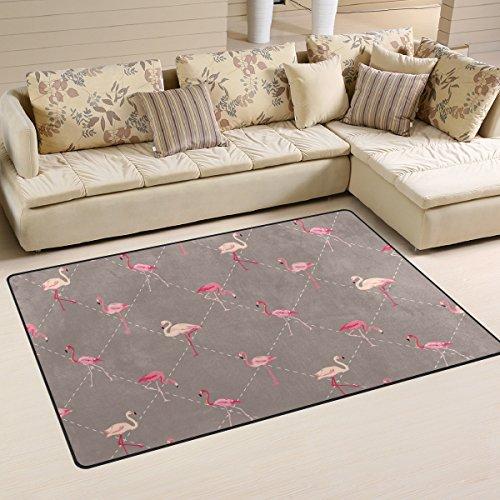 - Sunlome Pink Flamingo Geometry Brown Area Rug Rugs Non-Slip Indoor Outdoor Floor Mat Doormats for Home Decor 60 x 39 inches