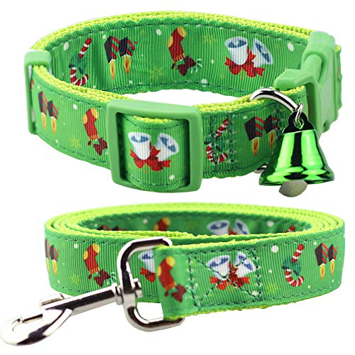 Bolbove Adjustable Pet Christmas Festive Collar and Leash Set with Bell for Dogs Holiday Season (Large, Green Jingle Bell) ()