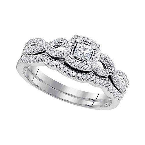 10kt White Gold Womens Princess Diamond Twist Bridal Wedding Engagement Ring Band Set 3/8 ()