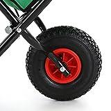 IKAYAA Folding Garden Wheel-Barrow Steel Frame Dolly Hand Truck Garden Cart for Horse Lawn