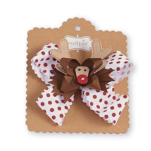 Mud Pie Baby Girl's Night Before Christmas 3-in-1 Holiday Hair Bows, Reindeer, -