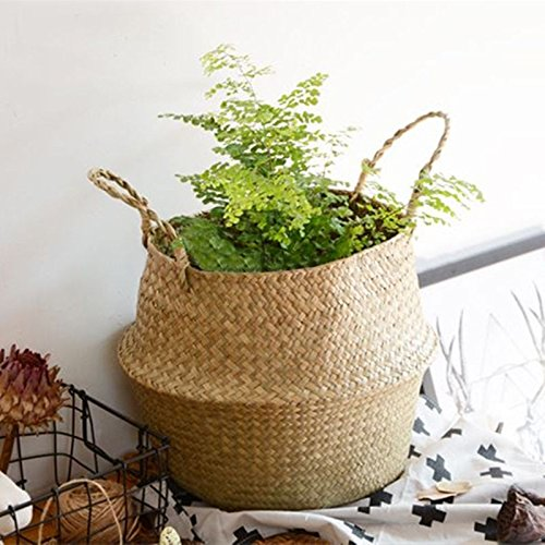 Seagrass Belly Basket Storage Plant Pot Foldable Nursery Laundry Bag Room Decor by Unknown (Image #2)