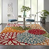 Nourison Aloha ALH05 Indoor/Outdoor Floral Green 7'10' x 10'6' Area Rug (8'x11')
