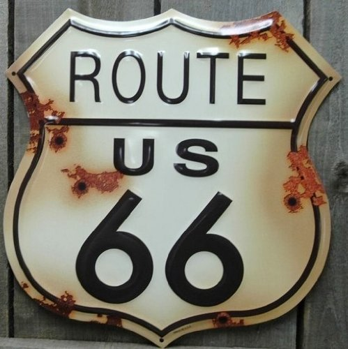 Route 66 Distressed Look Tin Sign - Route 66 Sign