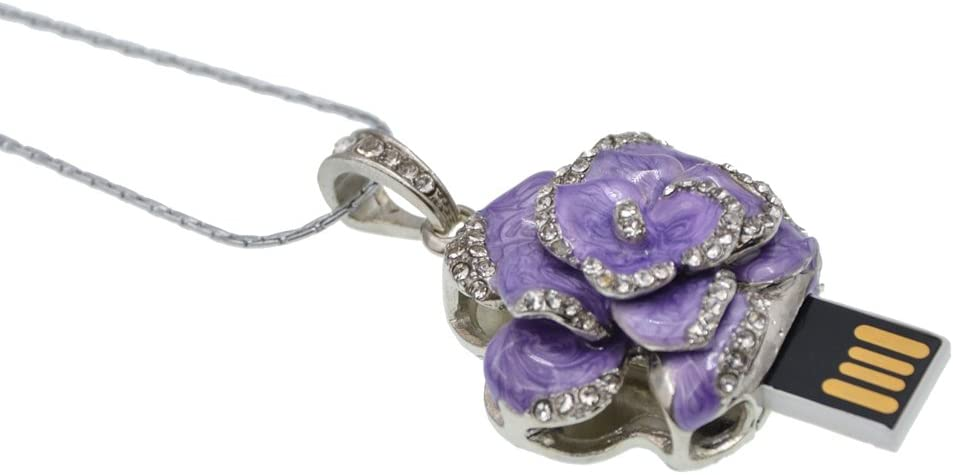 Datarm 64GB USB Flash Drive USB Storage Stick Purple Rose Shape Necklace Pendrive