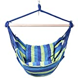 Giantex Hammock Rope Chair Patio Porch Yard Tree Hanging Air Swing Outdoor (Blue And Green)